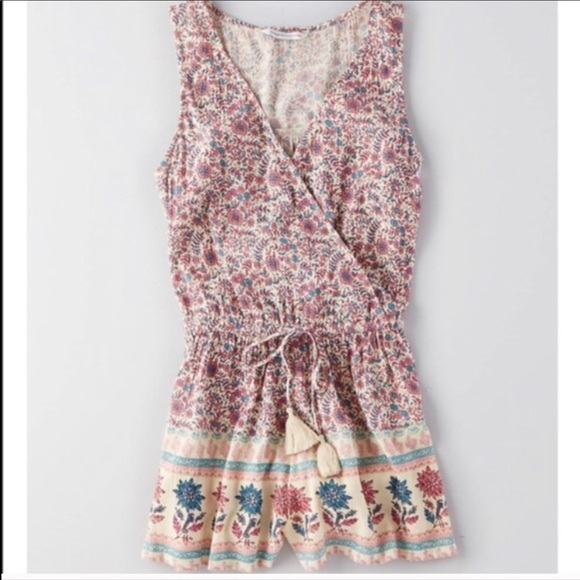 f59452094bb American Eagle Outfitters Pants - AEO Pink Floral Boho Romper